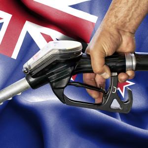 Tankstutzen vor neuseeländischer Flagge