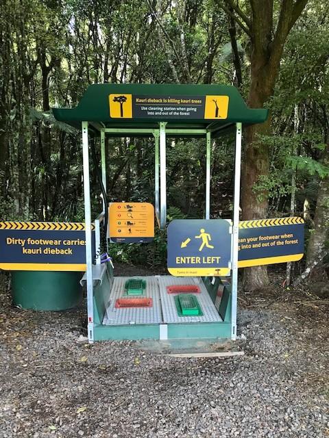 So sehen die Desinfektionsstationen vor dem Betreten eines Kauri-Waldes aus.